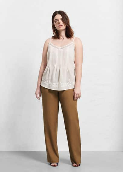 Soft fabric trousers | VIOLETA BY MANGO