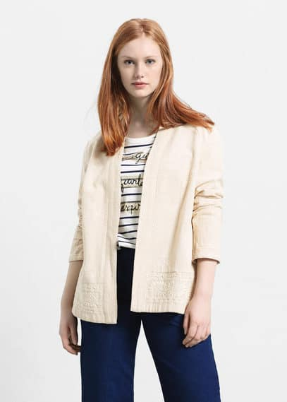 Cotton embroidered jacket | VIOLETA BY MANGO
