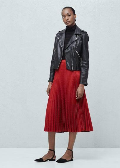 Кожаная куртка с молниями | MANGO