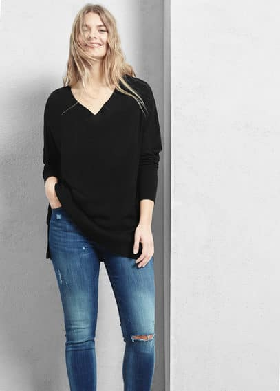 Pull-over col en v | VIOLETA BY MANGO
