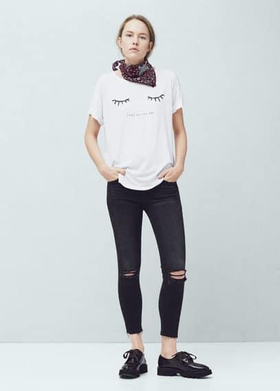 Glitter print t-shirt | MANGO