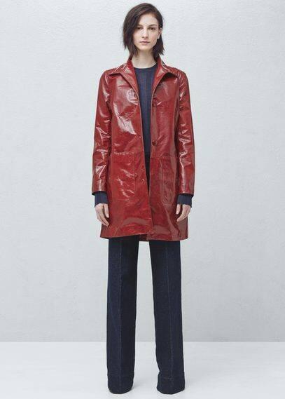 Premium - patent finish pockets coat | MANGO
