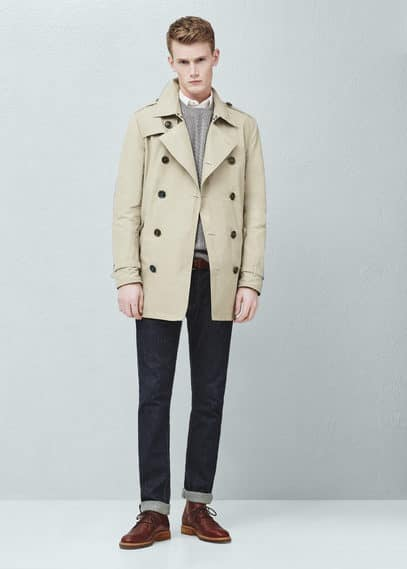 Cotton-blend trench coat | MANGO MAN