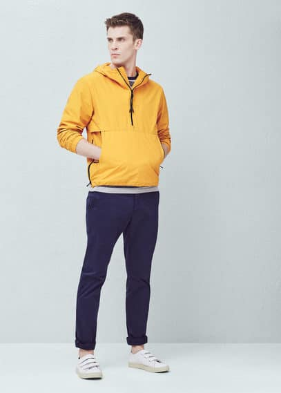 Hooded pouch pocket jacket | MANGO MAN