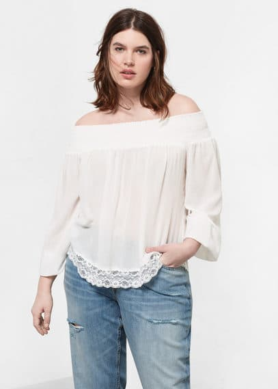 Blusa collo barca | VIOLETA BY MANGO