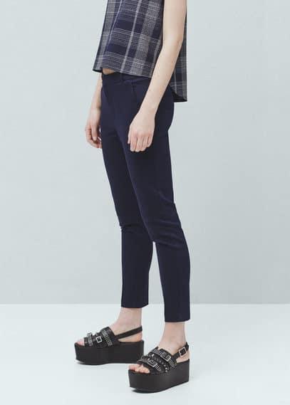 Calças retas algodão | MANGO