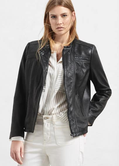 Stitched leather jacket | VIOLETA BY MANGO