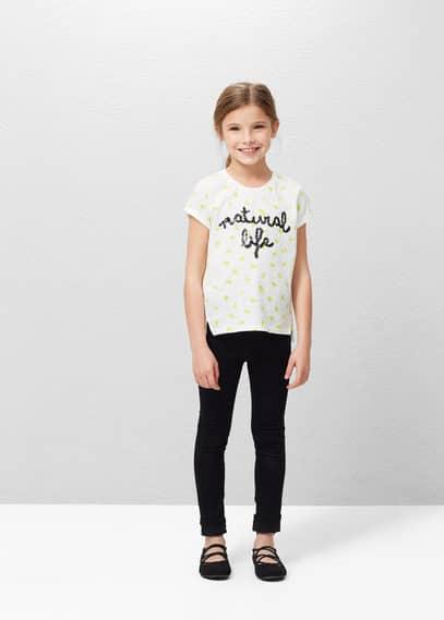 Sequined message t-shirt | MANGO KIDS