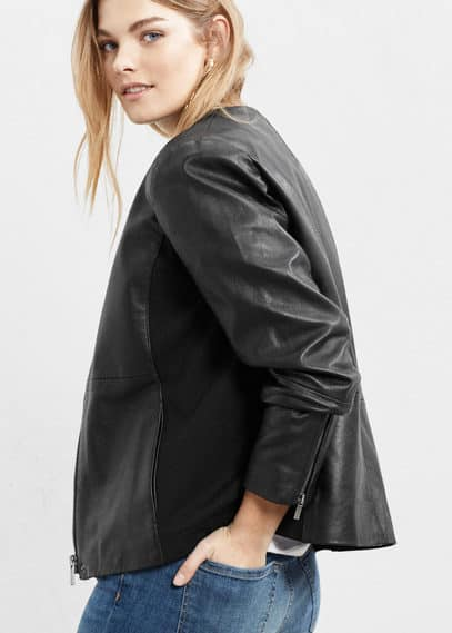 Panel leather jacket | VIOLETA BY MANGO