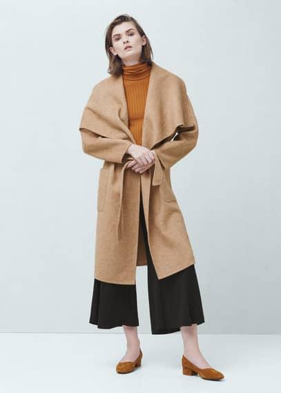 Cappotto lana cintura | MANGO