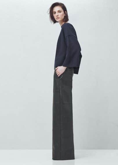 Premium - flared leather trousers | MANGO