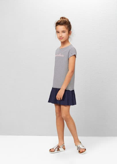 Contrast-bodice dress | MANGO KIDS