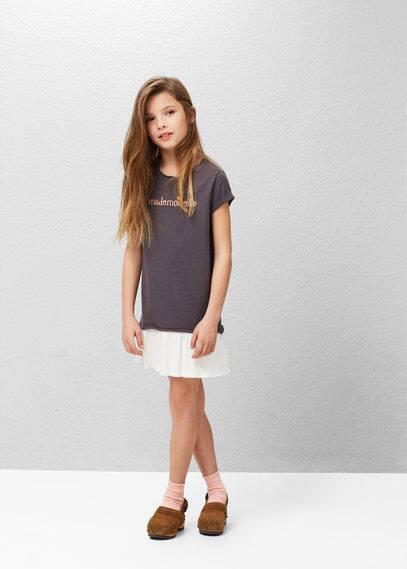 Contrast-bodice dress | MANGO KIDS