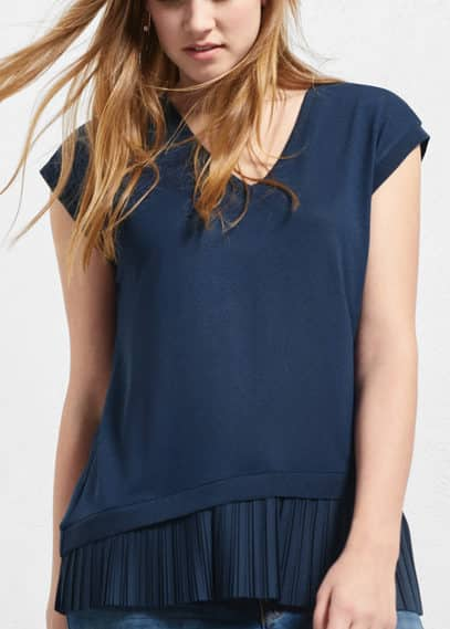 Pleated hem t-shirt | VIOLETA BY MANGO