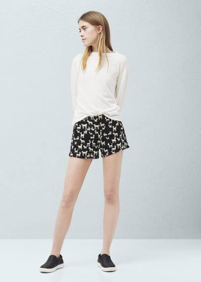 Cotton jacquard shorts | MANGO