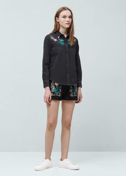 Embroidered denim shirt | MANGO KIDS