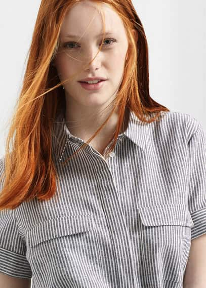 Linen-blend shirt dress | VIOLETA BY MANGO