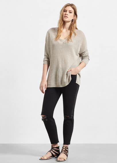 Linen sweater | VIOLETA BY MANGO