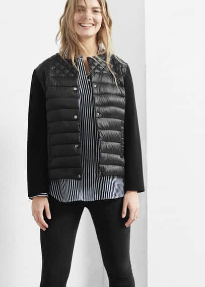 Mixed quilted jacket | VIOLETA BY MANGO