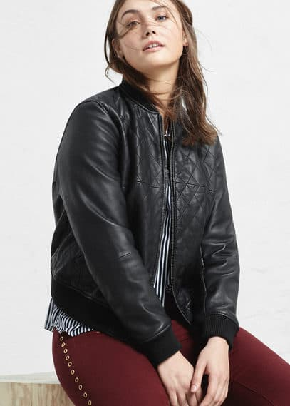 Leather bomber jacket | VIOLETA BY MANGO