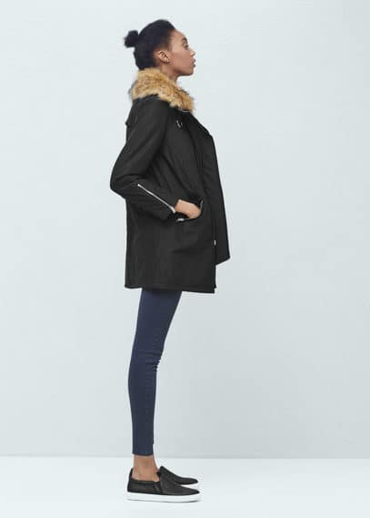 Faux-fur collar coat | MANGO