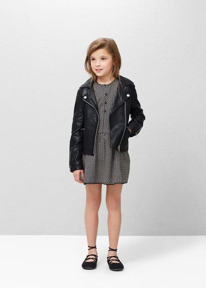Zip leather jacket | MANGO KIDS