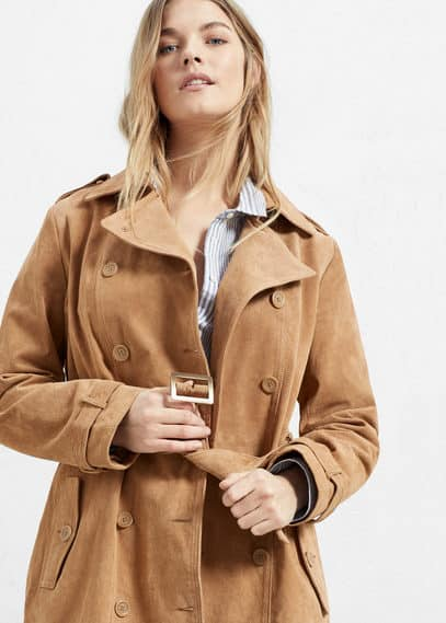 Suede trench | VIOLETA BY MANGO