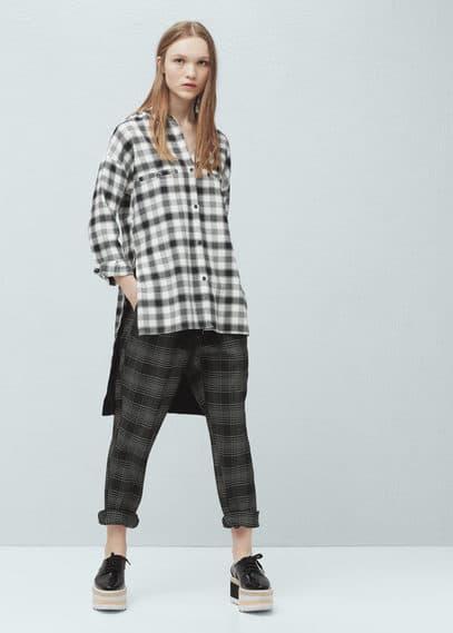 Camisa quadrados bolsos | MANGO