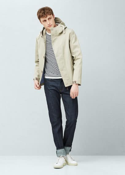Incorporated-visor hooded jacket | MANGO MAN