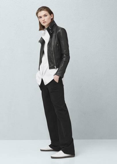 Кожаная куртка с пряжками | MANGO