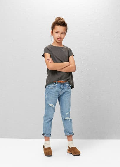Flecked cotton-blend t-shirt | MANGO KIDS