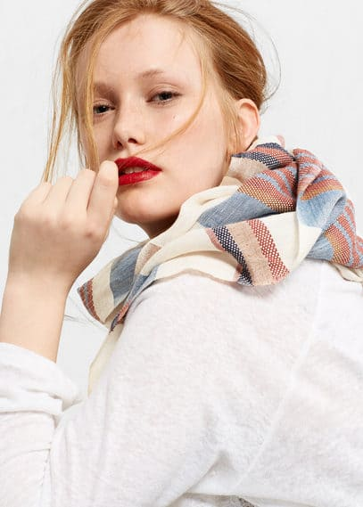 Stripe-pattern cotton scarf | VIOLETA BY MANGO