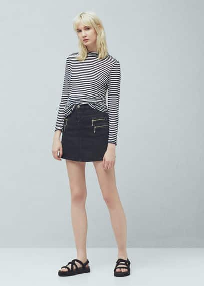 Zipped denim skirt | MANGO