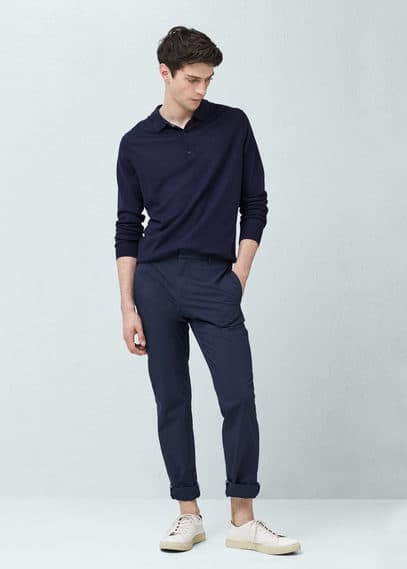 Long sleeves wool polo | MANGO MAN