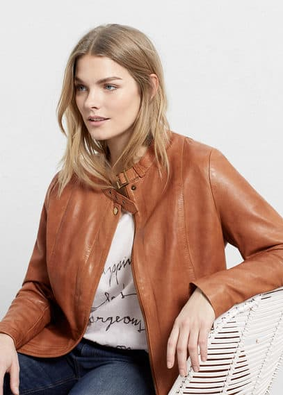 Buckles leather jacket | VIOLETA BY MANGO