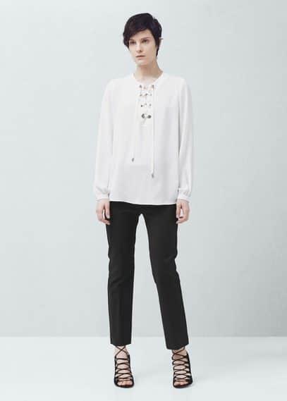 Drawstring neck blouse | MANGO