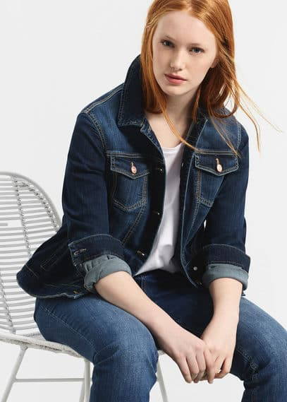 Dark denim jacket | VIOLETA BY MANGO