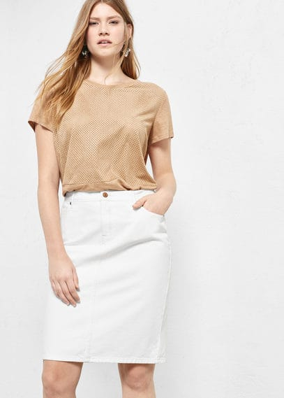 White denim skirt | VIOLETA BY MANGO
