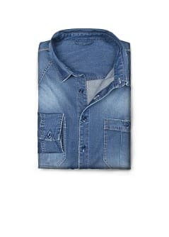 CAMICIA DENIM SLIM-FIT EFFETTO &quot;CONSUMATO&quot;