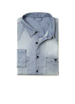 SLIM-FIT WASHED DENIM SHIRT