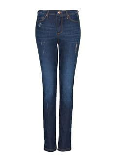 Distressed high-waist jeans