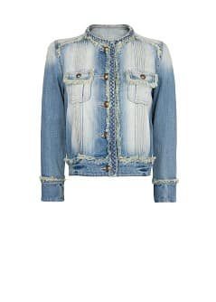 Woven trimming denim jacket