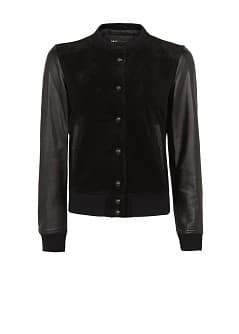 LEATHER SLEEVED BOMBER JACKET
