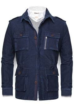 Denim effect cotton parka
