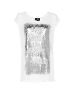 Metallic typographic print t-shirt