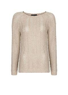 Metallic open work sweater