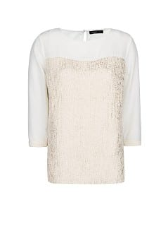 Metallic knit panel jumper