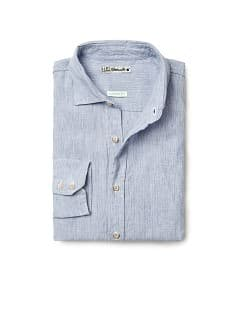 Camicia lino straight-fit