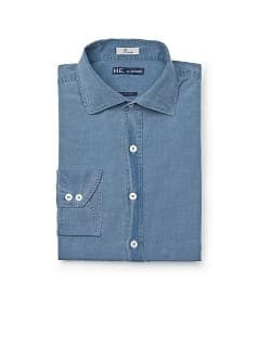 CAMICIA SLIM-FIT EFFETTO &quot;LAVATO&quot; COTONE