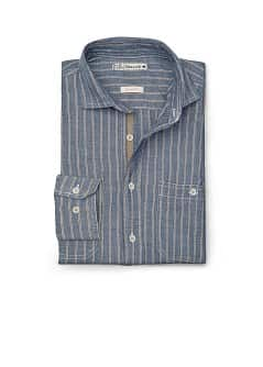 GESTREEPT CHAMBRAY SLIM-FIT OVERHEMD